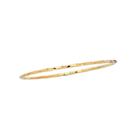 14K 8-inch Yellow Gold 2.50mm Shiny Twisted Round Tube Stackable Bangle BG213-08