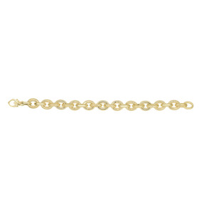 14kt 18-inch Yellow Gold Alternate Shiny+Textured Oval Link Necklace with Lobster Clasp AUF1023-18