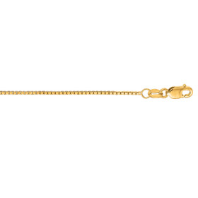 14kt 20-inch Yellow Gold 1.0mm Shiny Classic Box Chain with Lobster Clasp BOX063-20