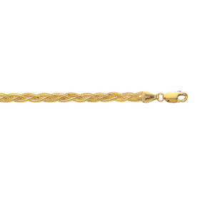14kt 7-inch Yellow Gold 3.5mm Diamond Cut Braided Fox Chain with Lobster Clasp BRFOX-07