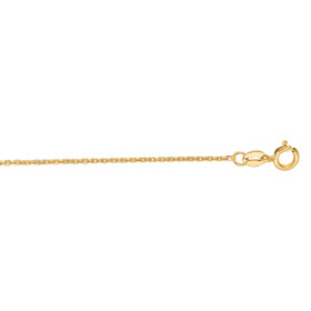 14kt 20-inch Yellow Gold 1.1mm Diamond Cut Cable Link Chain with Spring Ring Clasp CAB030-20