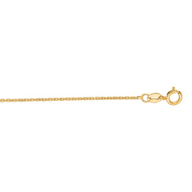 14kt 24-inch Yellow Gold 1.1mm Diamond Cut Cable Link Chain with Spring Ring Clasp CAB030-24