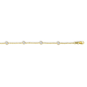 14K 7 inch Yellow Gold Cable Link Chain Bracelet with Lobster Clasp+6 Round Faceted White Cubic Zirconia CS161-07
