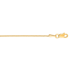 14kt 18 inch Yellow Gold 1.0mm Shiny Round Diamond Cut Wheat Chain with Lobster Clasp DRW25-18