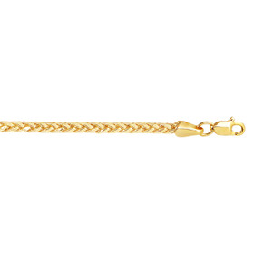 14k 20 inch Yellow Gold 2.7mm Diamond Cut Lite Franco Necklace with Lobster Clasp DFR068-20