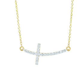 14k Yellow Gold 18 inch 0.22ct Side Cross Necklace with Long Curved Side way Cross DGN324-18