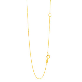 14k 20 inch Yellow Gold 0.6mm Classic Box Chain with Spring Ring Clasp with Extender at 18 inch EBOX040-20
