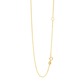 14k 20 inch Yellow Gold 1.1mm Diamond Cut Classic Cable Chain with Spring Ring Clasp with Extender at 18 inch ECAB030-20