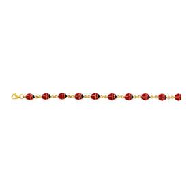 14K 7 inch Yellow Gold Shiny Enamel Ladybug Fancy Bracelet with Pear Shape Clasp EN103-07