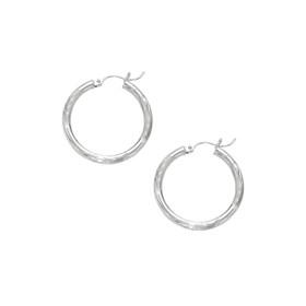 14kt White Gold 3X25mm Shiny Diamond Cut Round Tube Hoop Fancy Earring ER104