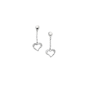 14K White Gold Shiny Cable Chain Link with Small Drop Open Heart Earring ER259
