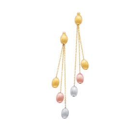 14K Yellow+Rose+White Gold Textured Shiny Multi-Color Pebble Fashion Drop Earring ER273