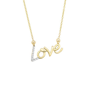 "14k 18 inch Yellow Gold Shiny ""Love"" Necklace with 0.07ct.Diamond+Lobster Clasp DGN339-18"