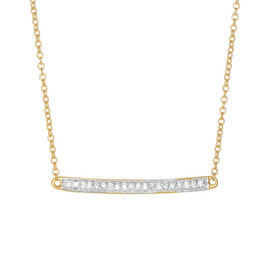 14k 18 inch Yellow Gold Shiny Bar Necklace with 0.12ct.Diamond+Lobster Clasp DGN341-18