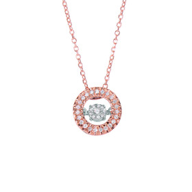 14k Rose Gold 0.1ct. Diamond Pendant 14K 18 inch 0.8MM Pink CABLE LINK CHAIN DGP734-18