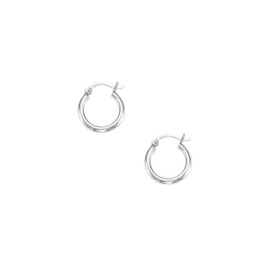 14kt White Gold Shiny 2X15mm Round Tube Hoop Earring ER372