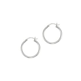 14kt White Gold Shiny 2X25mm Round Tube Hoop Earring ER375