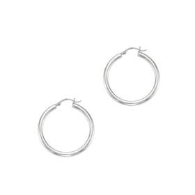 14kt White Gold 4.0X30mm Round Tube Shiny Hoop Earring ER376
