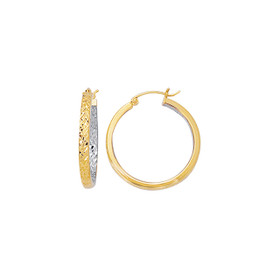 14kt Yellow+White Diamond Cut Interior White+Exterior Yellow Design Hoop Earring ER433