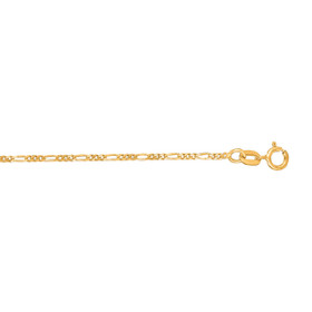 14kt 18 inch Yellow Gold 1.9mm Diamond Cut Alternate 3+1 Classic Figaro Chain with Spring Ring Clasp FIG050-18