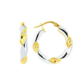 14K Yellow+White Gold Shiny Round Two Tone Twisted Small Hoop Earring ER924