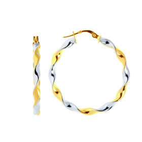 14K Yellow+White Gold Shiny Round Two Tone Large Twisted Hoop Earring ER925