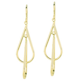 14K Yellow Gold Shiny Diamond Cut Double Teardrop Freeform Drop Earring ER1047