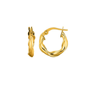 14K Yellow Gold 10mm Round Type Twisted Hoop Earring ER1264