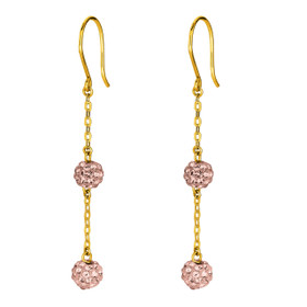 14K Yellow Gold Shiny Cable Chain Link with 2 Rose Crystal Ball Drop Earring ER1275