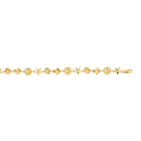 14K 7 inch Yellow Gold Shiny Bracelet with Lobster Clasp+Fish+Shell+Starfish+Sand Dollar FIL145-07