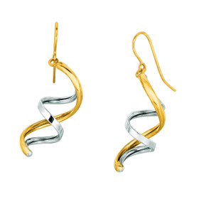 14K Yellow+White Gold Shiny Double Row Fancy Drop Earring ER1535