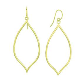 14K Yellow Gold Shiny Pear Shape Freeform Drop Earring ER1812