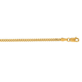 14kt 22 inch Yellow Gold 2.0mm Diamond Cut Gourmette Chain with Lobster Clasp GR060-22