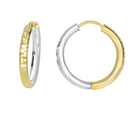14kt Yellow+White Gold 2.5x15mm Shiny Diamond Cut Half White+Half Yellow Hoop Earring ER3079