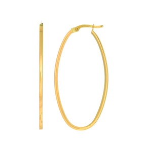 14kt Yellow Gold 1.7x20x40mm Shiny Square Tube Ova l Hoop Earring ER3083