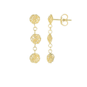 14kt Yellow Gold 27x6mm 3 Hanging Textured Small Flower Type Drop Earring with Push Back Clasp ER3859