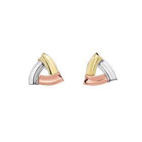14k Yellow+Rose+White Gold Shiny 10.6mm Open Triangle Shaped Post Style Earring with Push Back Clasp ER3914