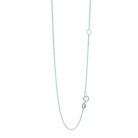 14k 18 inch White Gold 1.1mm Classic Diamond Cut Cable Chain with Spring Ring Clasp with Extender at 16 inch EWCAB030-18