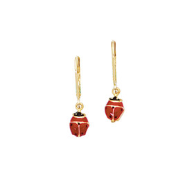 14kt Yellow Gold Shiny Red+Black Ladybug Leverback Earring F820