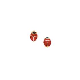 14kt Yellow Gold Shiny Red+Black Ladybug Post Earring F887