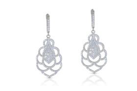 Sterling Silver CZ Fancy Drop Earrings