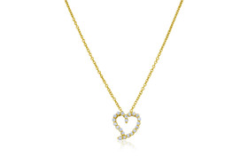 """18K Yellow Gold Diamond Heart 18"""" Cable Necklace"""