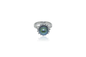 14K White Gold Diamond South Sea Pearl Ring