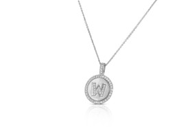 Sterling Silver Cubic Zirconia M Initial Charm Necklace 83210070