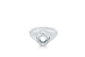 14K White Gold Antique Look Engagement Ring Setting 10017171