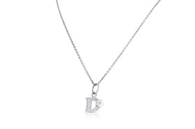 Sterling Silver D Initial Diamond Flower Charm Necklace 83110010