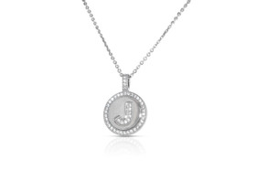 Sterling Silver J Initial Charm Cable Necklace by Shin Brothers Jewelers Inc.