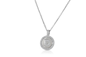 Sterling Silver Circular Shaped D Initial Charm Cable Necklace by Shin Brothers Jewelers Inc.
