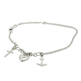 14K White Gold Faith, Hope and Charity Bracelet