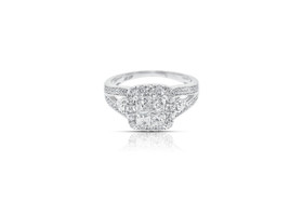 14k white gold 1.25 Carat Diamond Cluster Square engagement Ring By Shin Brothers Jewelers Inc